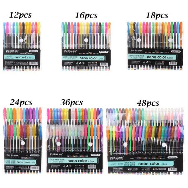 12/16/18/24/36 / 48st Gelpennor Set Marker Pen Pastell 48PCS