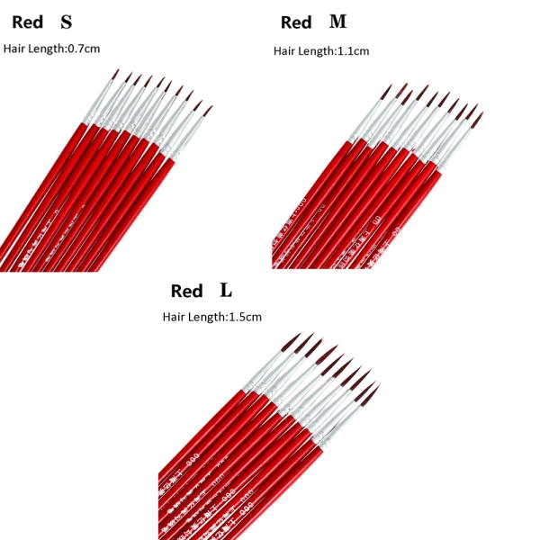 10 / 20st målarborste krok linje penna 10 ST VIT S