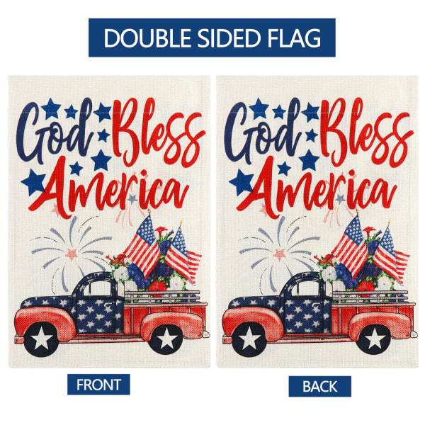 Red Truck Garden Flag God Bless American 12x18 tum