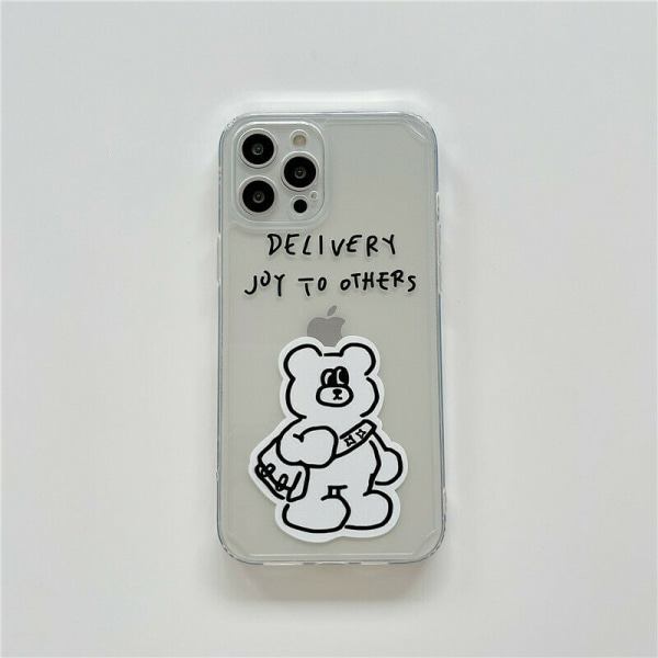 Bear Clear Back Case för iPhone 7 XR 11 12 MINI White,For iPhone X / XS