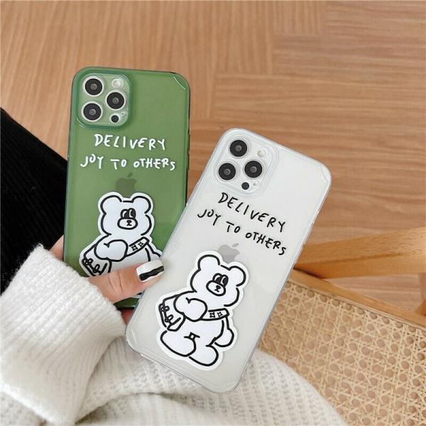 Bear Clear Back Case för iPhone 7 XR 11 12 MINI Green,For iPhone XR
