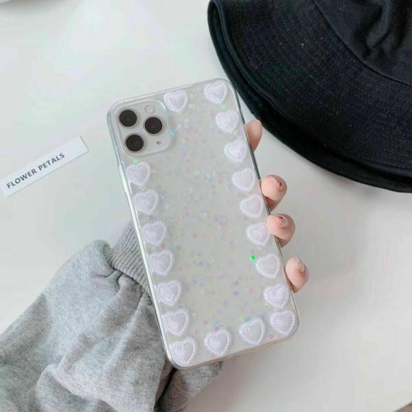 Bling Glitterfodral till iPhone 11 12 MAX Mini 7 8 Plus Love Heart,For iPhone 12 6.1