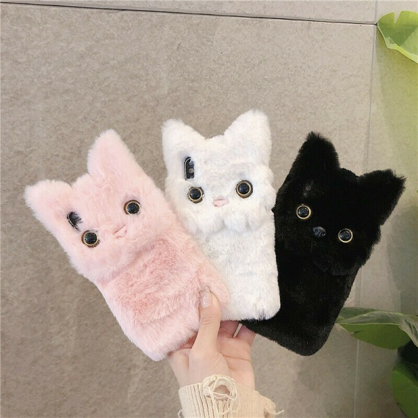 Fluffy Plush Cat Case för iPhone 12 11 Pro Max 7 White,For iPhone 11