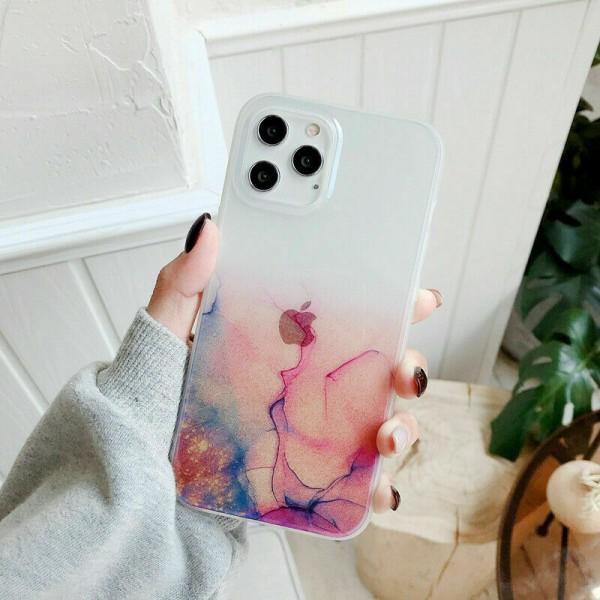 För iPhone 12 11 Max XR 7 8 vattenfärg klart fodral Pink,For iPhone 12 6.1