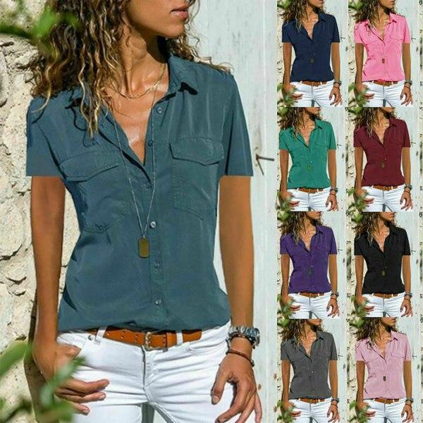 Kvinnors V-hals Print Blus Toppar Dam T-shirts XL,Green