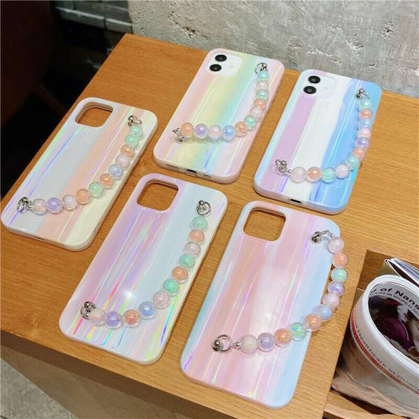 Rainbowfodral till iPhone 11 12 Mini Max 7 8 kedja B,For iPhone 7 / 8 / SE 2020