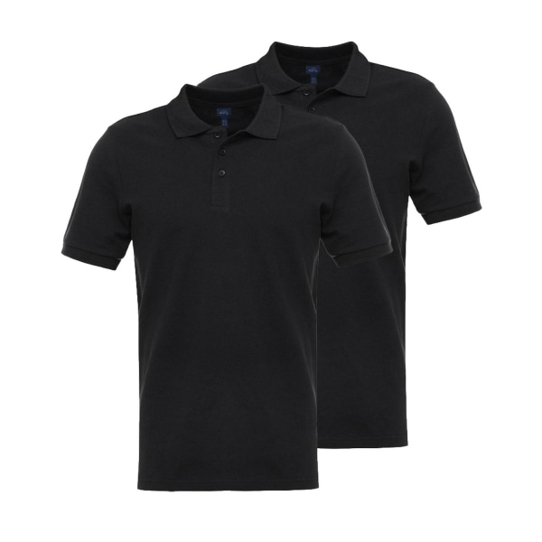 Basic Polo - 2 -pack - 100% bomull Black M