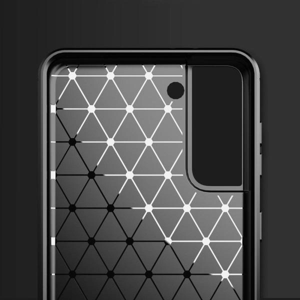 Samsung Galaxy S21 Plus Exklusivt Stöttåligt Skal - Kolfiber Svart
