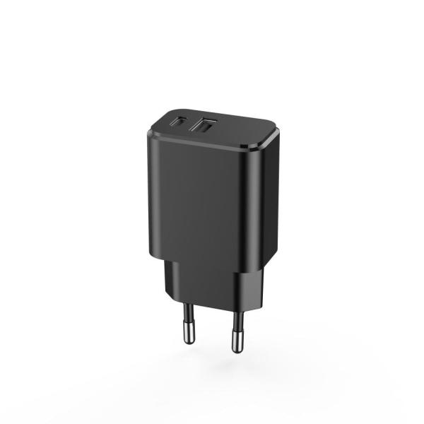 iPhone 12 PD 3.0 Laddare 20W USB-C X2 USB Snabbladdare Svart