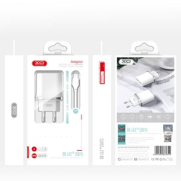 XO® Micro-USB 2.1A VäggLaddare X2 USB - Samsung, Huawei, mm Svart