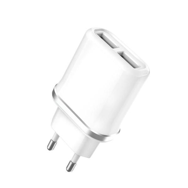 XO™ Väggadapter Laddare 2.1A 2x USB till iPhone/Android/iPad Vit
