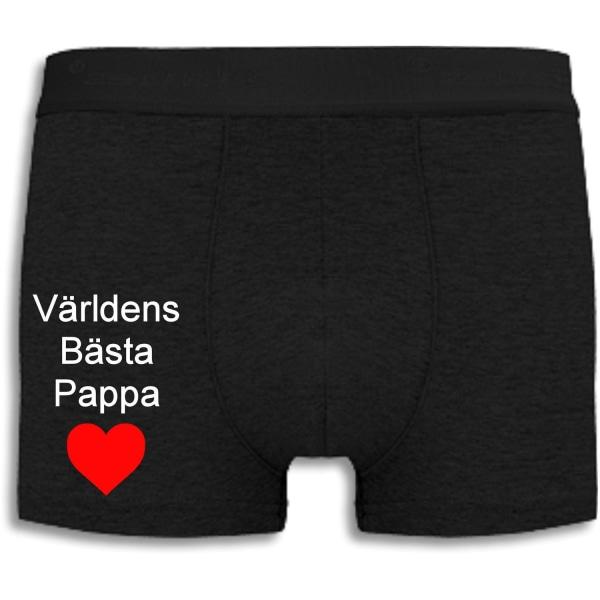 Boxershorts - Världens Bästa Pappa med rött hjärta Black M