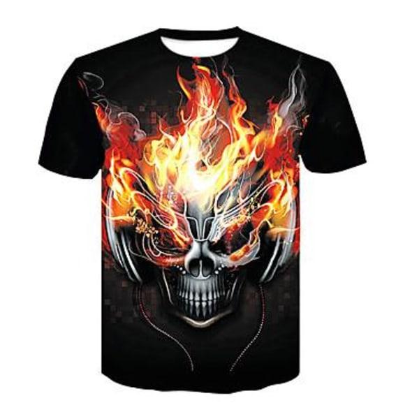 T-shirt med 3D tryck, Dödskalle Storlek XL
