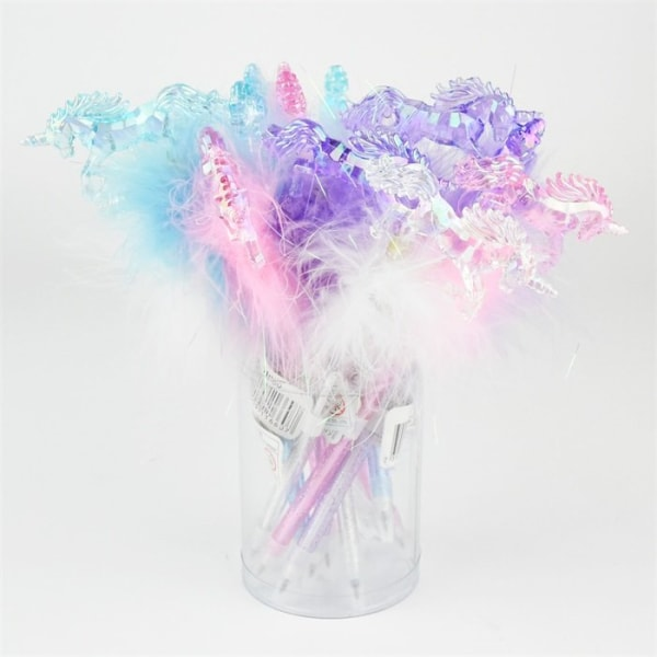 Penna med fluff Enhörning Kristall Ljusblå Ljusblå