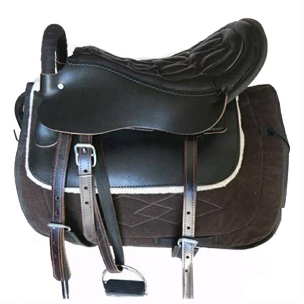 Sadel mini-kort häst ryttartillbehör rödbrun