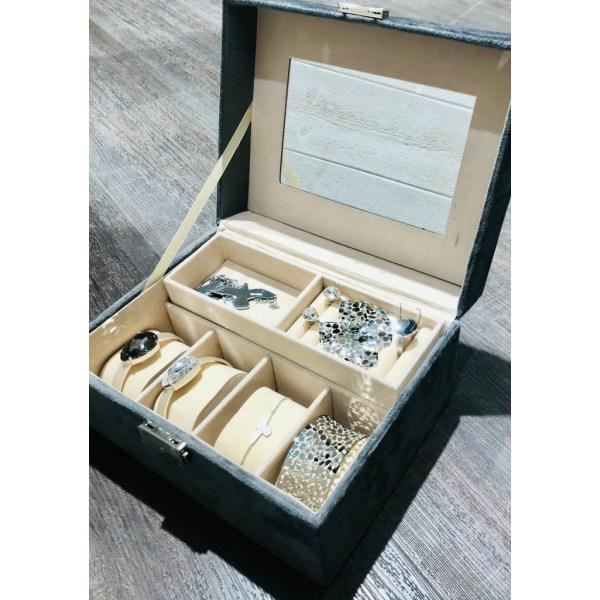 Smyckeskrin Sammet grå smyckesskrin grå