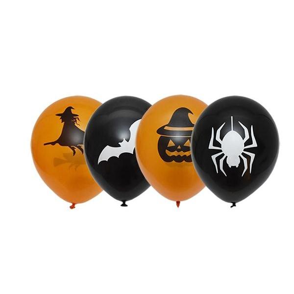 Balloner Halloween Latex sort / orange 6-pak Orange