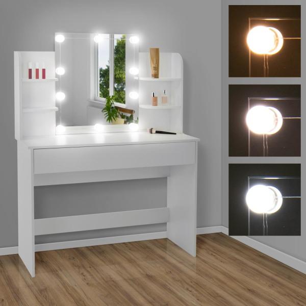 ECD Germany Modernt toalettbord med LED-belysning, spegel, låda, Vit