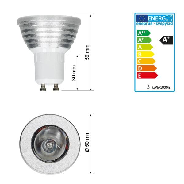 3W GU10 RGB LED Spot glödlampa spotlight färgförändring lampa