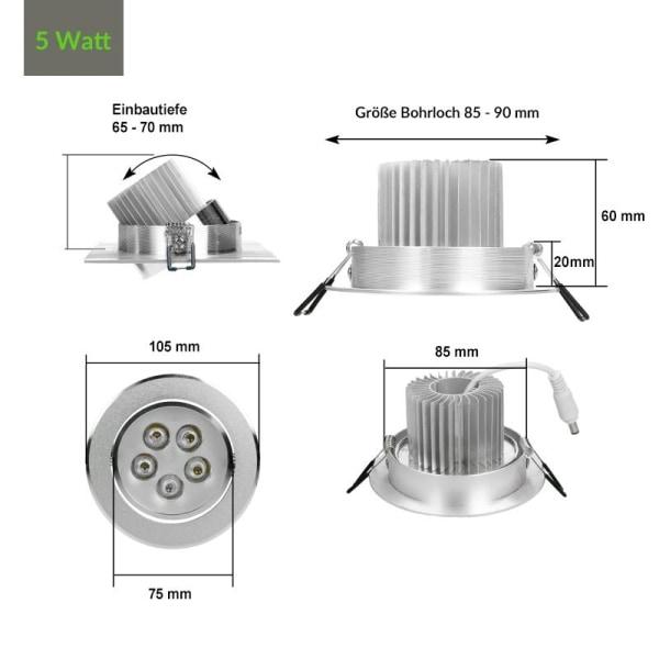 ECD Germany 6 X LED infälld ljus Infälld armatur Tak ljus
