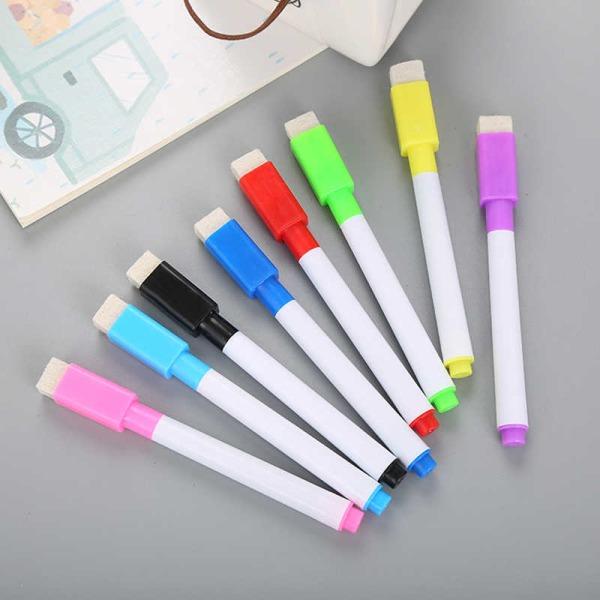 8 färger/ förp whiteboard pennor med renare