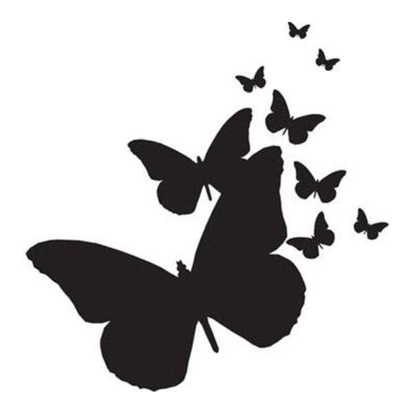 9 fjärilar vinyl vägg klistermärken silver