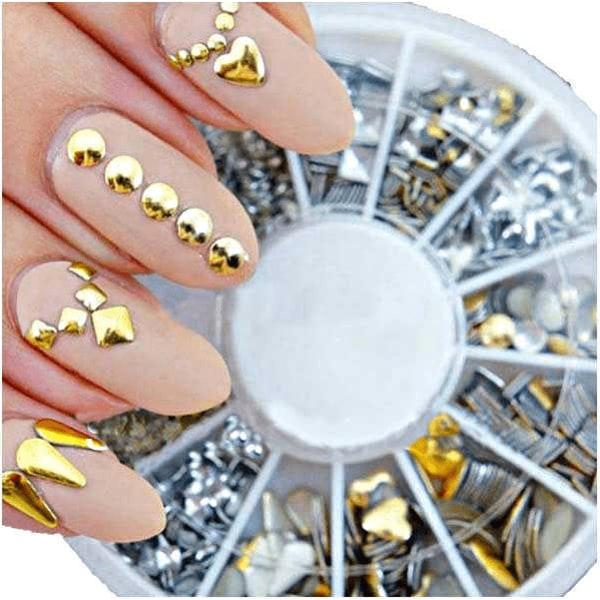 Metall nageldekorationer/nitar i guld och silver silver