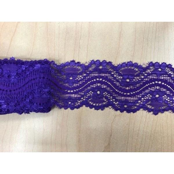 9 m. Elastisk blød blonde 55 mm lilla Purple