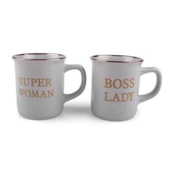 Super Woman & Boss Lady mugg 2-pack grå