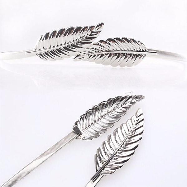 Smalt elastiskt metallbälte med lövspänne i guld eller silver Silver