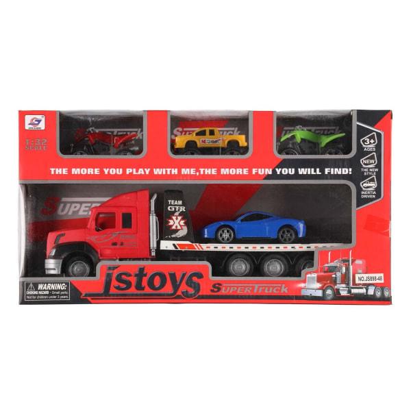 Lastbil 36 cm med 4 bilar - Röd Röd