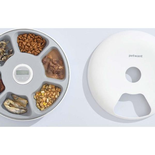 PetWant F6 Smart matskål med 6 kammare - För husdjur Vit