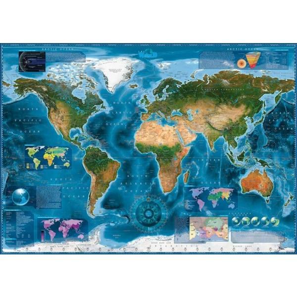 Heye Pussel - Map Art, Satellit Karta 2000 Bitar multifärg