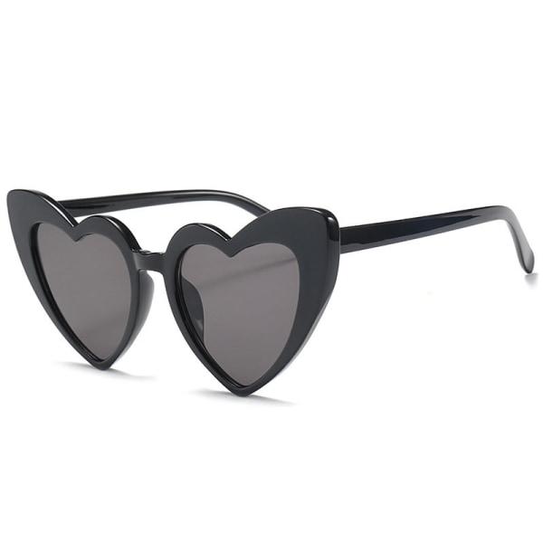 Retro hjärtformade solglasögon dam överdimensionerade UV400 Svart one size