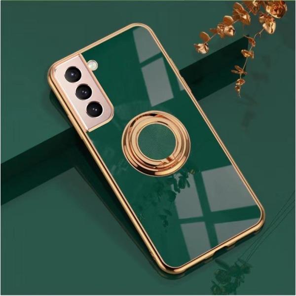 ║Samsung Galaxy S21 Plus║ Lyxigt Stilrent skal med ring ställ-fu Green one size