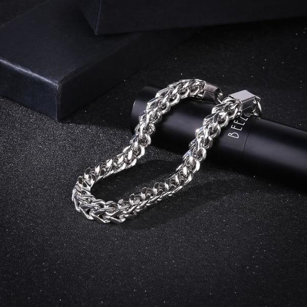 Lyxigt titanium armband för män punk Silver one size
