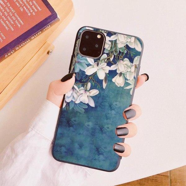 iPhone 12 & 12 Pro skal blå vit vackra blommor silikon  Blå one size