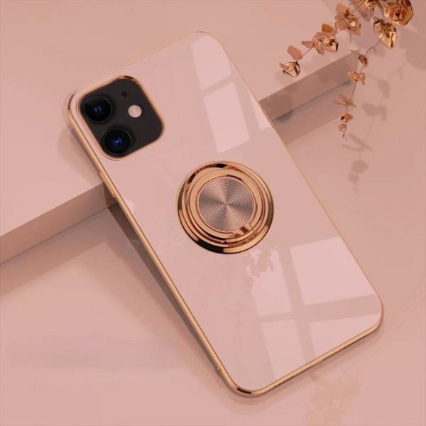 iPhone 12 och iPhone 12 Pro Skal Lyxigt Stilrent med ring ställ- LightPink one size