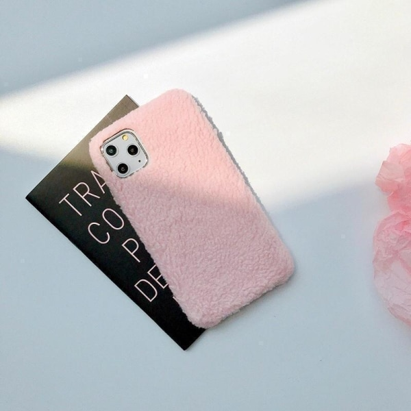 iPhone11 Pro Max skal teddy material fluffigt mjukt stickat Pink one size