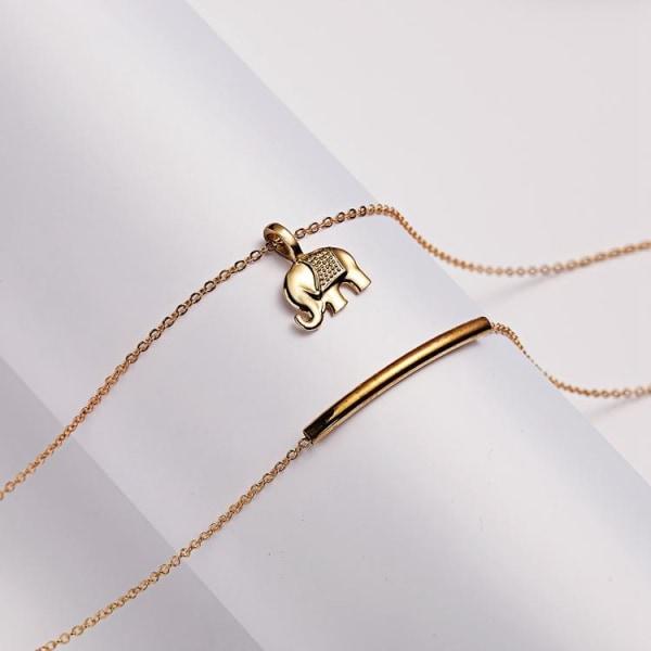 Lucky us - lycka elefant halsband med 18K guldpläterad gåva Guld one size