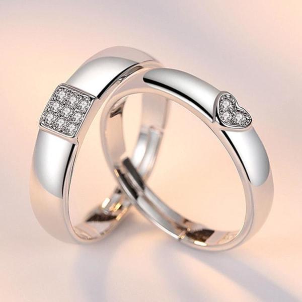 Matchande silverpläterade ringar med hjärta för män och kvinnor  Silver one size