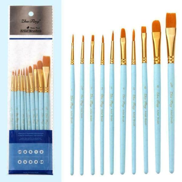 10st / pack Penslar Set Painting Art Brush För Akryl Ny C green