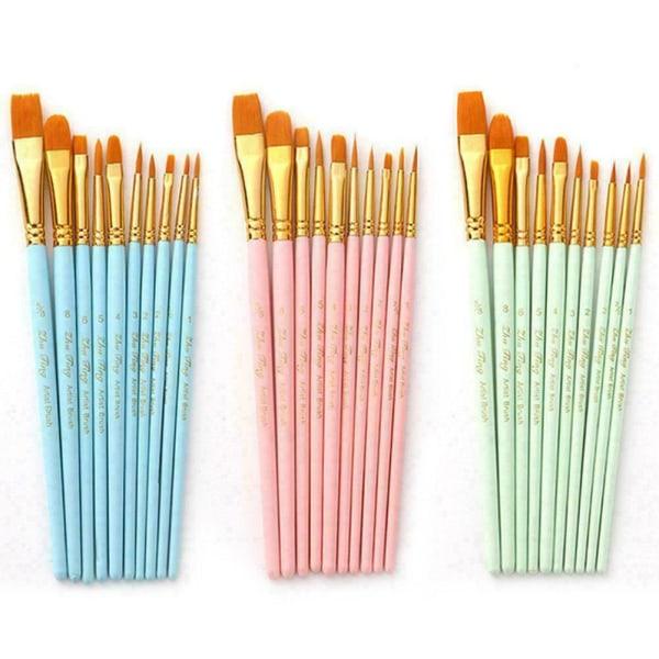 10st / pack Penslar Set Painting Art Brush För Akryl Ny B pink