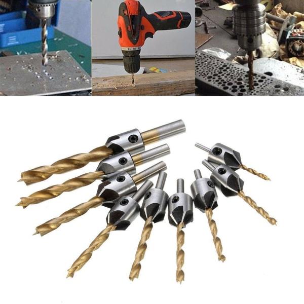 3-10mm 5 flöjt HSS försänkningsborr Snickeri träverktyg