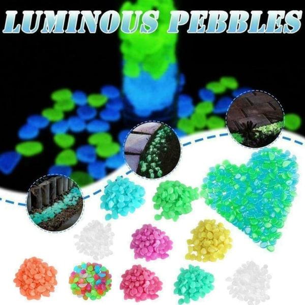 50st Glow Stones Pebbles Luminous Garden Aquarium Fish Tank