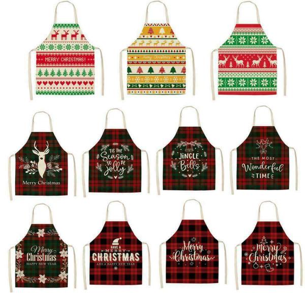 Julförkläde Santa Claus Elk Christmas Trees Pattern New