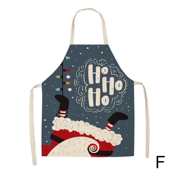 Merry Christmas Cotton Linen Kockförkläde Kitchen Cooking Bib