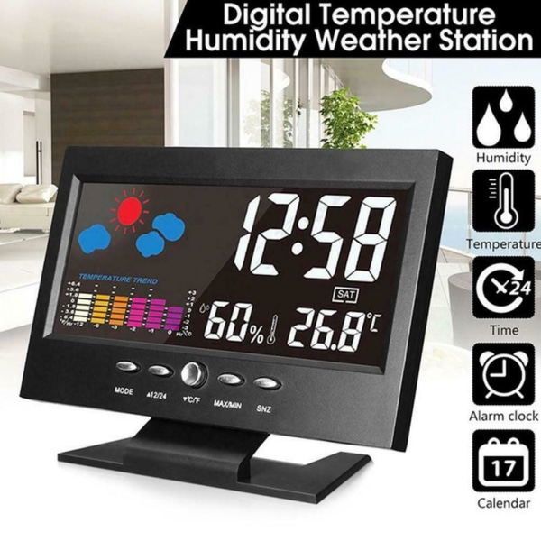 Projektionsväckarklocka Digital LCD-display Snooze Alarm Clock