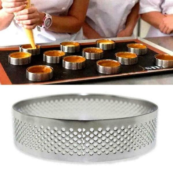 Rostfritt stål bakverktyg perforerad tårta cirkel ring mögel