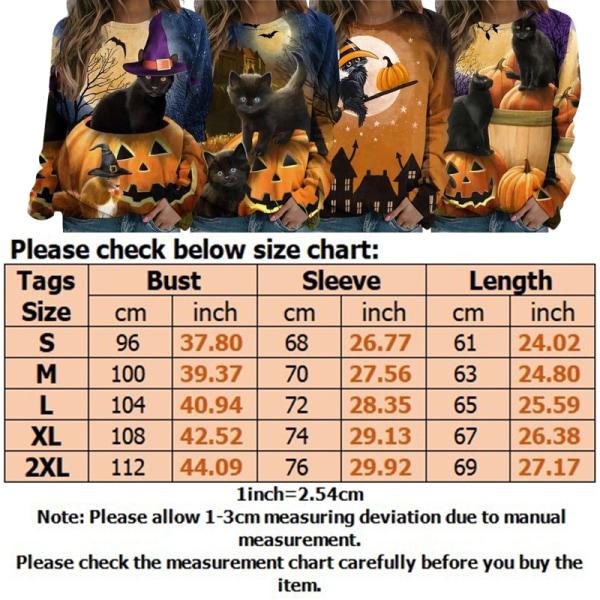 Kvinnors Halloween Crew Neck långärmad tröja tröja blus Gul XXL